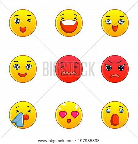 Smiley faces icons set. Flat set of 9 smiley faces vector icons for web isolated on white background