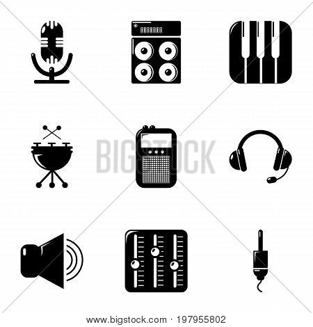 Sound producing icons set. Simple set of 9 sound producing vector icons for web isolated on white background