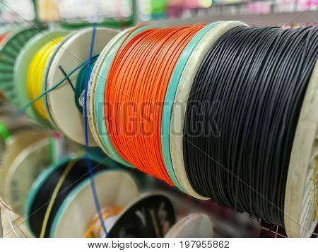 Cables used in electrical wiring installation isolated on market