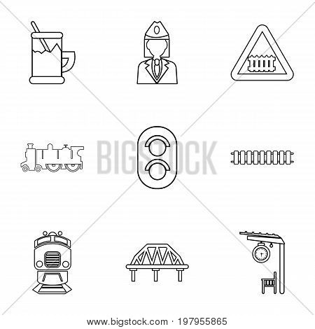 Railway work icons set. Outline set of 9 railway work vector icons for web isolated on white background