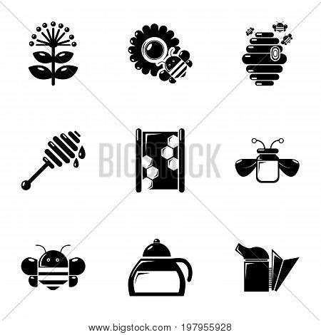 Beekeeping icons set. Simple set of 9 beekeeping vector icons for web isolated on white background
