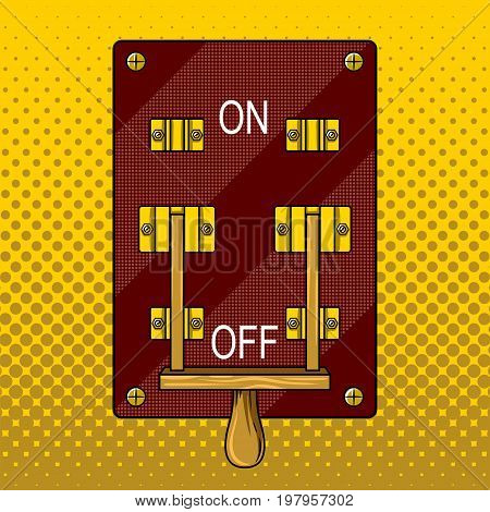 Huge electric knife switch off pop art retro vector illustration. Comic book style imitation.