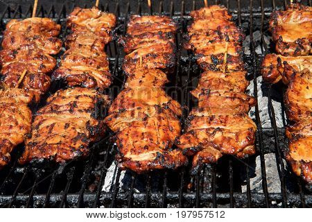 Chicken filets on a wooden stick grilling on a BBQ open to the air