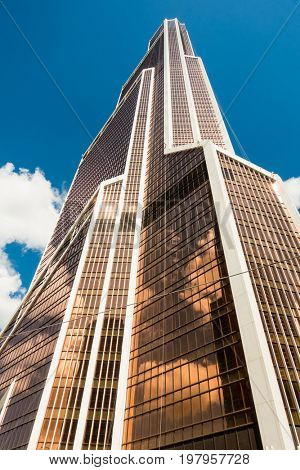 Moscow - August 06, 2015: Architecture of skyscrapers in Moscow City