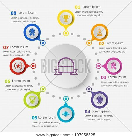 Infographic template with award icons, stock vector