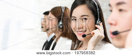 Asian telemarketing customer service agents call center job concept - panoramic banner