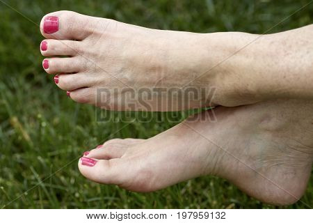 Middle Aged Woman's Barefeet In The Grass