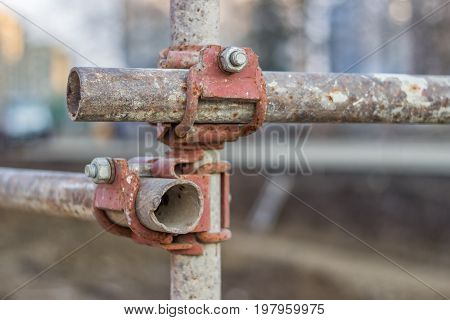 Close Of Rusty Metal Scaffolding Connector