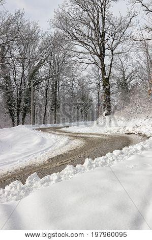 Dangerous Double Curve On The Winter Road