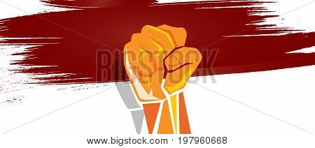 Indonesia independence hand fist in with flag concept illustration of nationalism patriotism vector