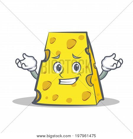 Grinning cheese character cartoon style vector illustration