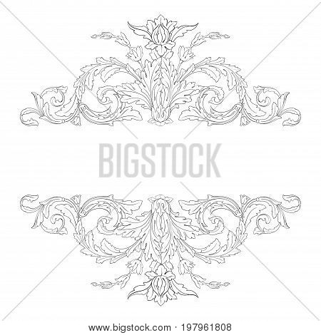 Vintage baroque frame scroll ornament engraving border floral retro pattern antique style acanthus foliage swirl decorative design element filigree calligraphy vector