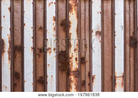 Old Painted Corroded Metal Container Wall