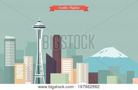 Seattle skyline. vector illustration flat style design