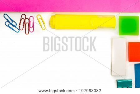 back to school. various stationary on white background