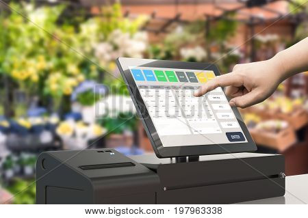 human hand working with cashier register machine