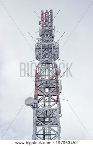 Top Of The Telecommunication Tower At Winter 2