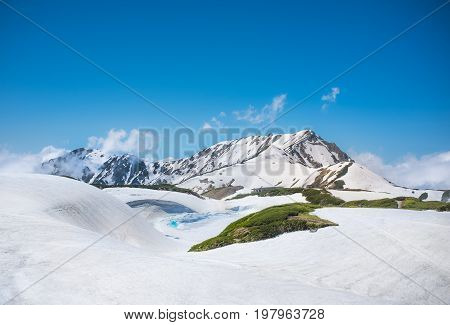 TATEYAMA JAPAN - June 11 2017: Japan Alps with melting snow. The Tateyama Kurobe Alpine route operate in late April until November is one of the tourist attraction in Japan.