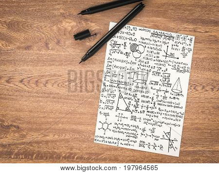 3d rendering white paper with math formula on wooden table