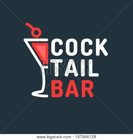 Bright vector illustration of a cocktail bar. The original sign for the institution