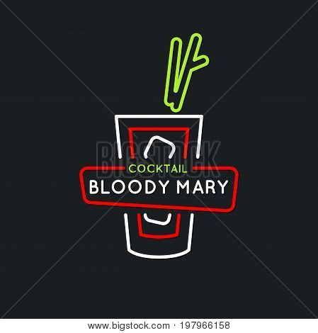 Illustration for bar menu alcoholic cocktail Bloody Mary . Vector line drawing of a Drink on a dark background.