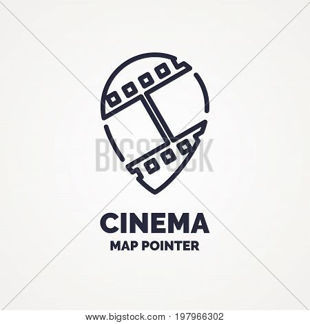 Ticket pointer icon on background. Vector illustration. The linear image of a cinema ticket pointer.