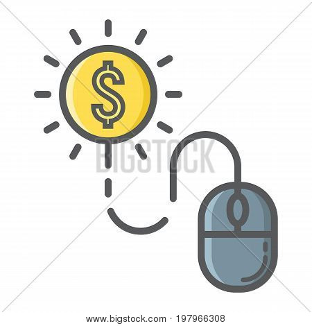 Pay per click filled outline icon, seo and development, mouse sign vector graphics, a colorful line pattern on a white background, eps 10.