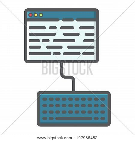 Copywriting filled outline icon, seo and development, blogging sign vector graphics, a colorful line pattern on a white background, eps 10.
