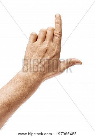 Man's hand pointing to something isolated on white background. Close up. High resolution.