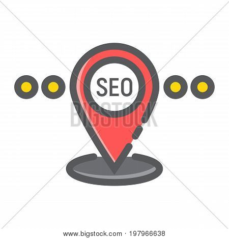 Local SEO filled outline icon, seo and development, pin sign vector graphics, a colorful line pattern on a white background, eps 10.