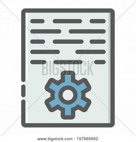 Article marketing filled outline icon, seo and development, document sign vector graphics, a colorful line pattern on a white background, eps 10.