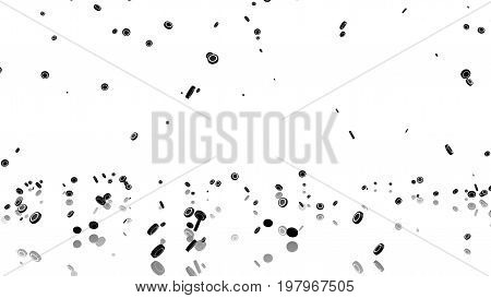 3D illustration of Many Ice Hockey Pucks raining with a reflecting floor and a white background