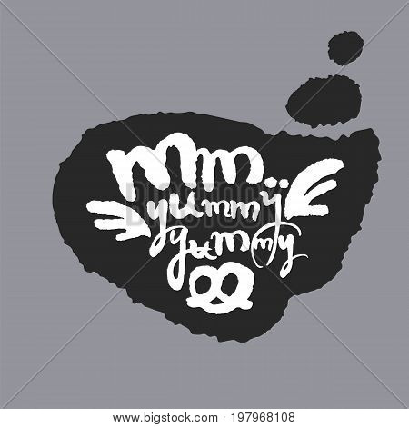 Mm Yummy Yummy. Hand written calligraphy phrase in a speech bubble. White on black. Clipping paths included.