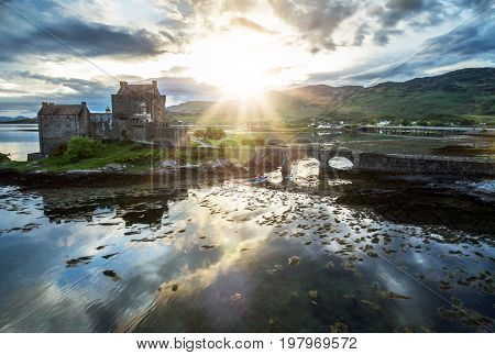Aerial view of the historic Eilean Donan Castle by Dornie, Scotland