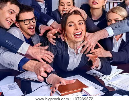 Business people office. Team people are unhappy with their leader. Office workers seek attention of their superiors. Intern manager does not cope with his duties. New employee is recruited.