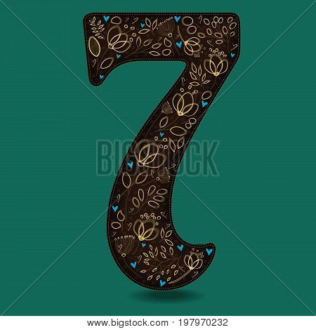 Number Seven with Vintage Golden Floral Decor. Dark brown numeral. Yellow flowers and plants with drown effect. Blue small hearts. Illustration