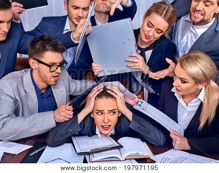 Business people office. Team people are unhappy with their leader. Intern manager does not cope with his duties. Crowd in stress. New employee is recruited.