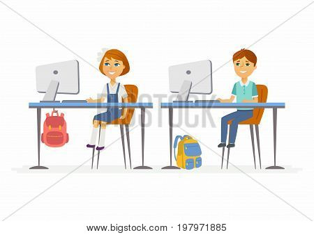 Computer studies - modern vector illustration of happy little junior school children working at the PCs. Boy and girl studying in classroom, having online lesson, courses, webinar