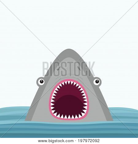 Shark head face with big open mouth and sharp teeth. Cute cartoon animal character. Baby card. Sea ocean wild animal. Water wave. Sticker print template. Flat design. White background Isolated. Vector