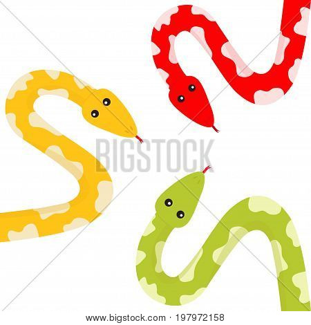Yellow green red python snake set tongue. Golden crawling serpent with spot. Cute cartoon character. Flat design. White background. Isolated. Vector illustration