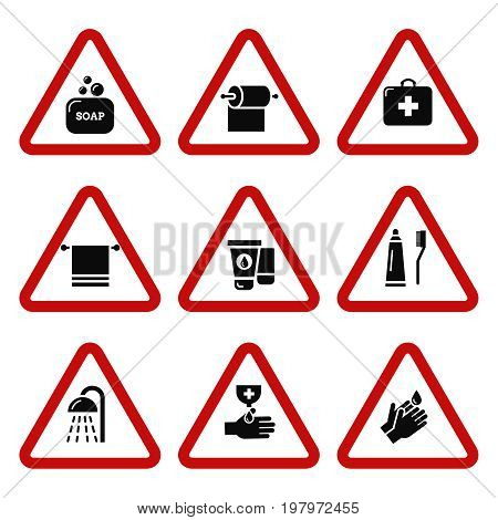 Hygiene, bacteria virus protection attention icons. Antiseptic for hands. Vector illustration