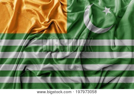 Ruffled waving Azad Kashmir flag national close