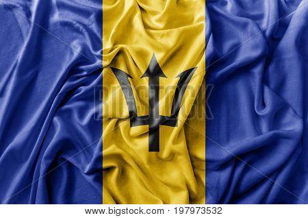 Ruffled waving Barbados flag national close up