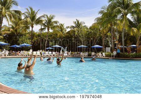 Vacation Village Weston Fort Lauderdale Florida USA - May 13 2017 : Aqua Zumba in the swimming pool at Vacation Village