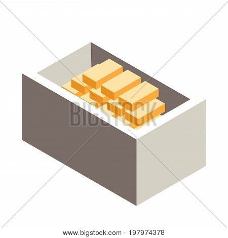 Box with gold bars. Vector illustration in isometric projection, isolated on white background.