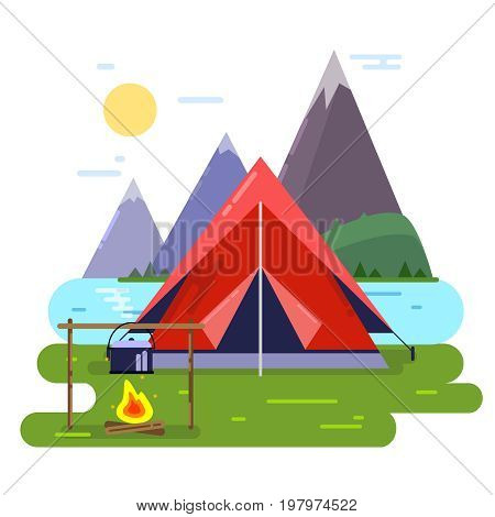 Summer camping vector background illustrations. Forest, tent and fire. Tent camp outdoor, tourism and adventure travel