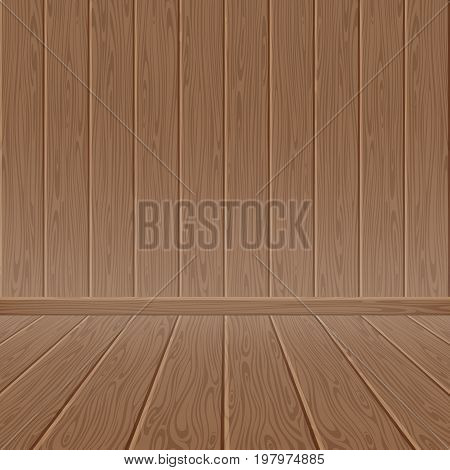 Brown wood textured wall and floor. Wooden background, hardwood texture material plank, vector illustration