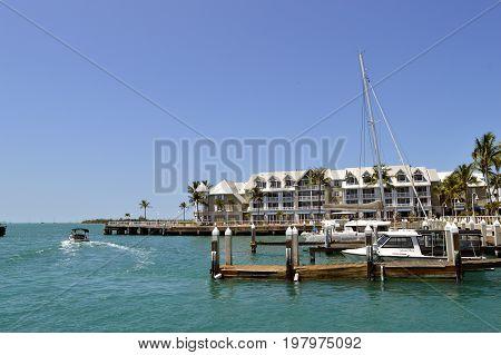 Key West Florida Keys Florida USA - May 15 2017 : Yacht moored up in Key West Marina