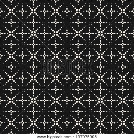 Vector seamless pattern with halftone dotted lines. Texture with crosses, flashes, fireworks. Simple geometric abstract monochrome background. Modern dark minimalist design for decor, covers, digital. X pattern, halftone background, cross pattern.