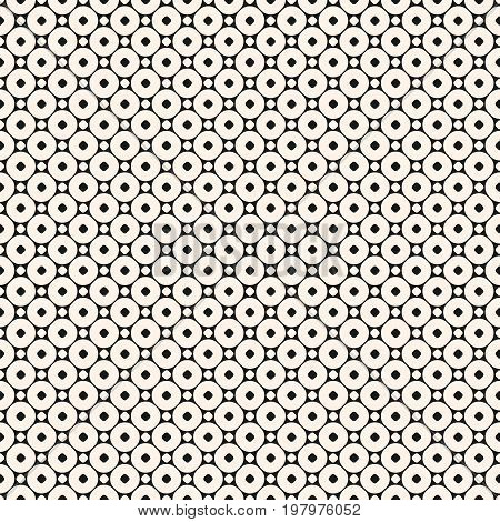 Vector seamless pattern with small circles. Simple modern geometric abstract background. Funky monochrome texture. Subtle circular lattice. Design element for prints, decoration ,fabric, covers, web.